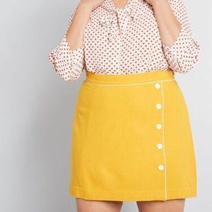 ModCloth Own The Era Wool Blend Yellow Skirt 3X